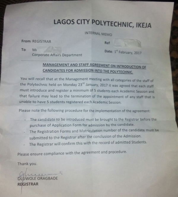 See Ponzi school where lecturers refer 5 students every year or get sacked