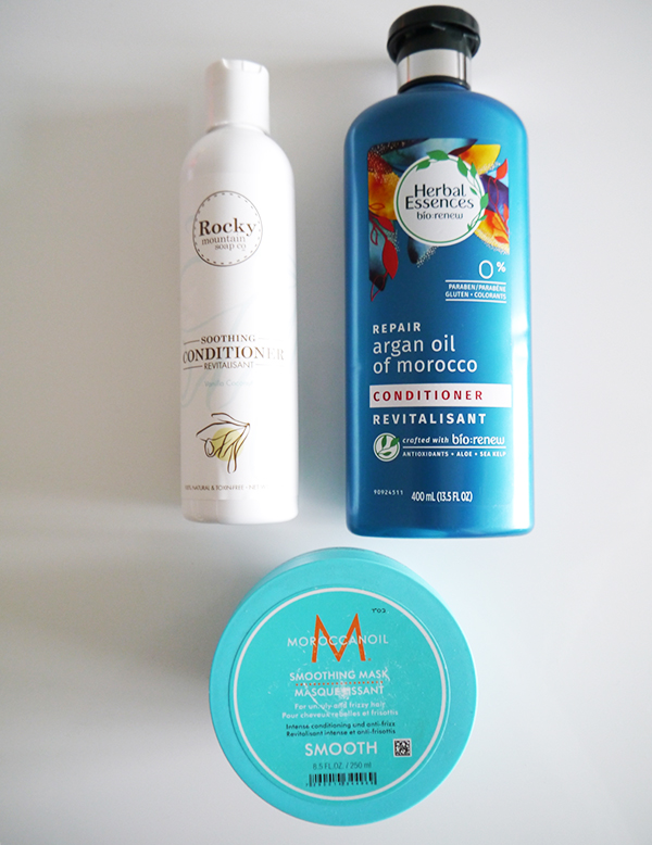 Rocky Mountain Soap Company Soothing Conditioner in vanilla coconut scent, Herbal Essences Repair Argan Oil of Morocco Conditioner, Moroccanoil Smoothing Hair Mask