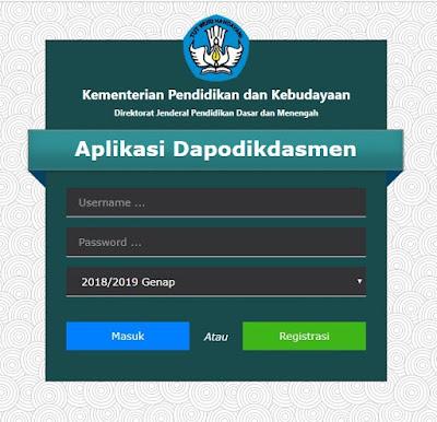 Laman Utama Login Aplikasi Dapodik 2019 c