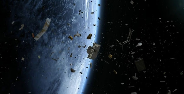 A CGI snapshot of the space junk orbiting high above our heads in low-Earth orbit. Image credit: Space Junk 3D website.