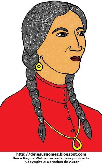 Dibujo de Micaela Bastidas con trenzas a colores. Imagen de Micaela Bastidas de Jesus Gómez