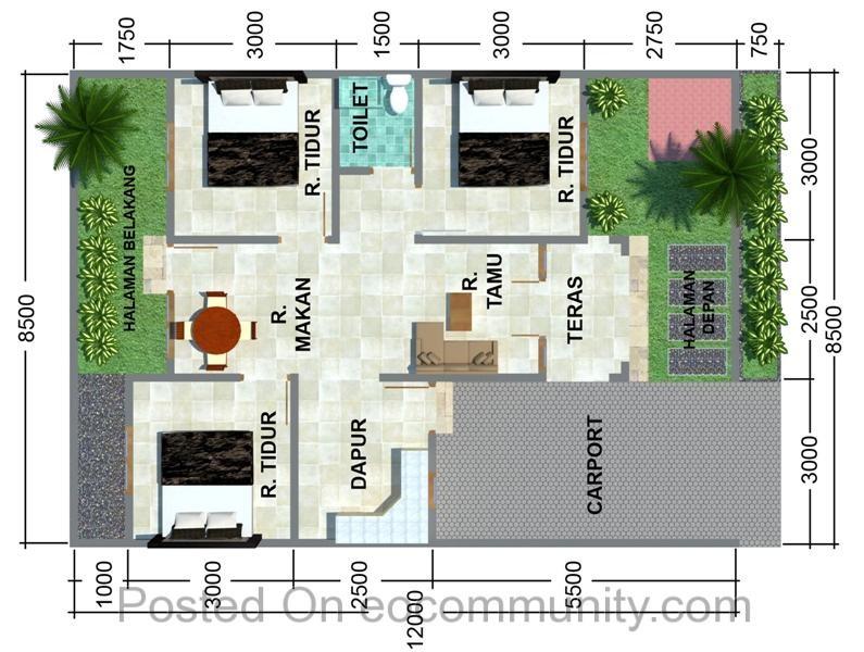 denah rumah ukuran 7x12 satu lantai minimalis 1