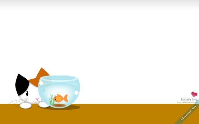 Hình nền chú mèo con bên bình cá cực dễ thương
