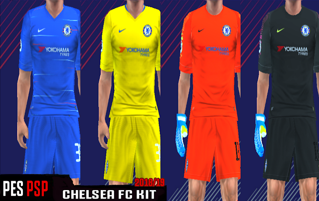 1dc36b4c839 Chelsea FC 18 19 Kits - PES PSP (PPSSPP)