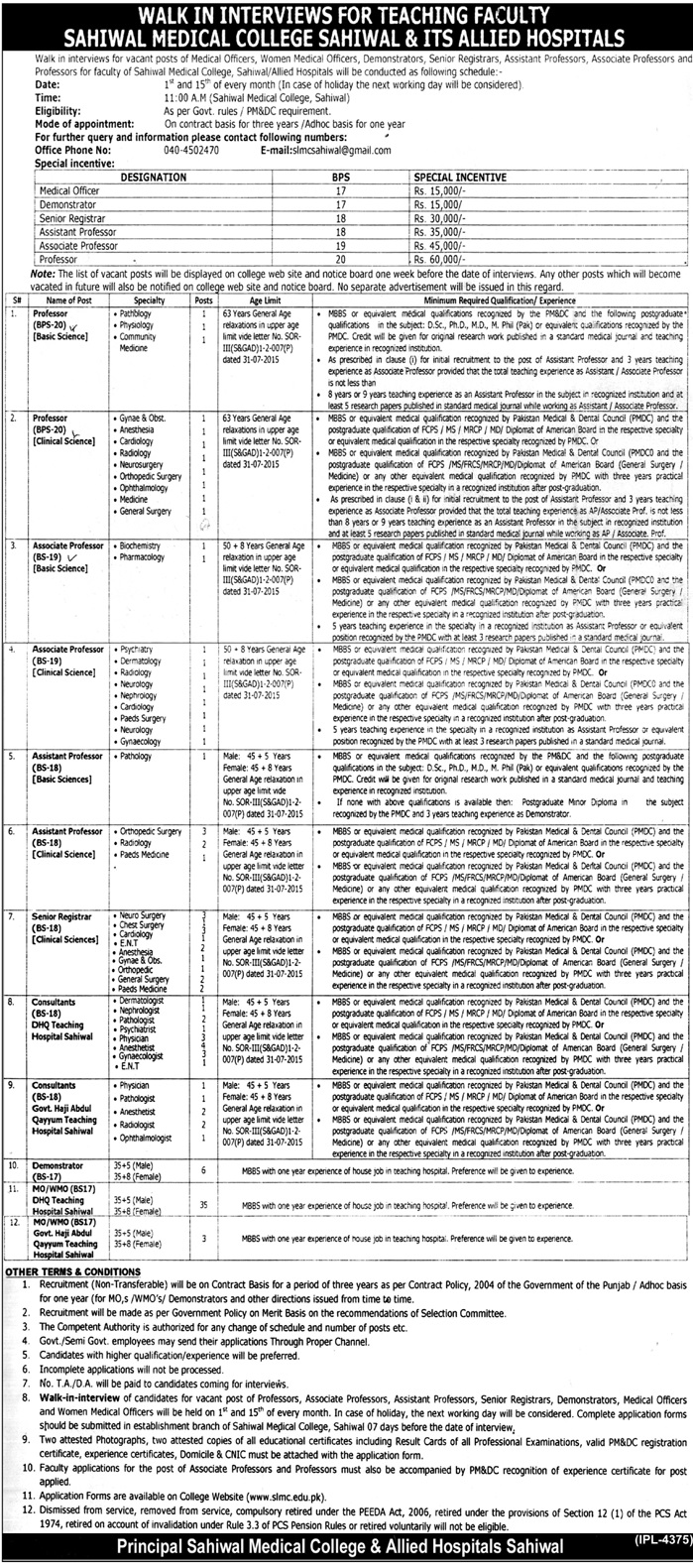 Jobs in Sahiwal Medical College Jobs