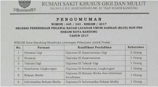 Lowongan Kerja Non PNS Kota Bandung Rumah sakit khusus Gigi dan Mulut Tahun 2017