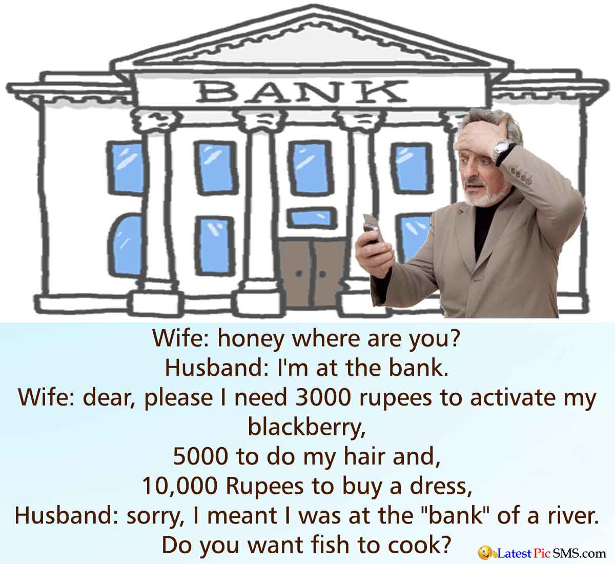 wife husband funny joke on bank - Funny Bank Jokes Photos for Whatsapp and Facebook