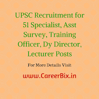 UPSC Recruitment for 51 Specialist, Asst Survey, Training Officer, Dy Director, Lecturer Posts