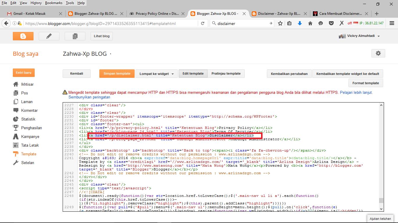 Cara Membuat Laman Disclaimer Pada Blog Zahwa Xp Blog