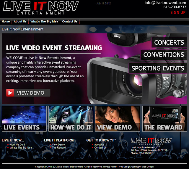 GoHooper Web Design in Nashville Designs Live It Now Entertainment