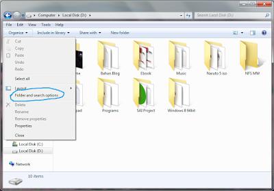 Cara menampilkan folder tersembunyi di windows 7