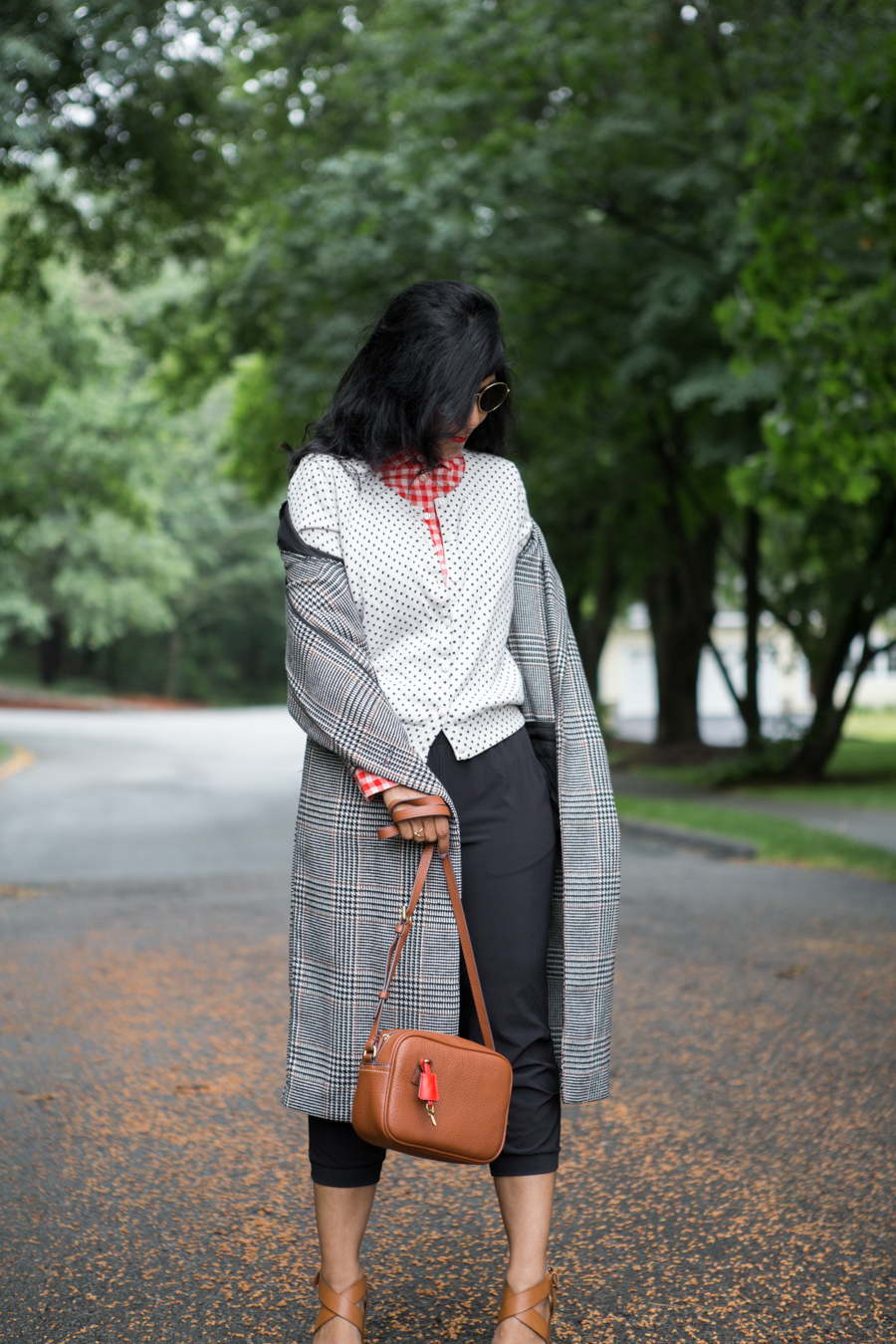 spring layers, how to mix prints, joggers, gingham, plaid, spring style, petite style, petite fashion, h&m, houndstooth, j.crew, affordable style, menswear-inspired, preppy