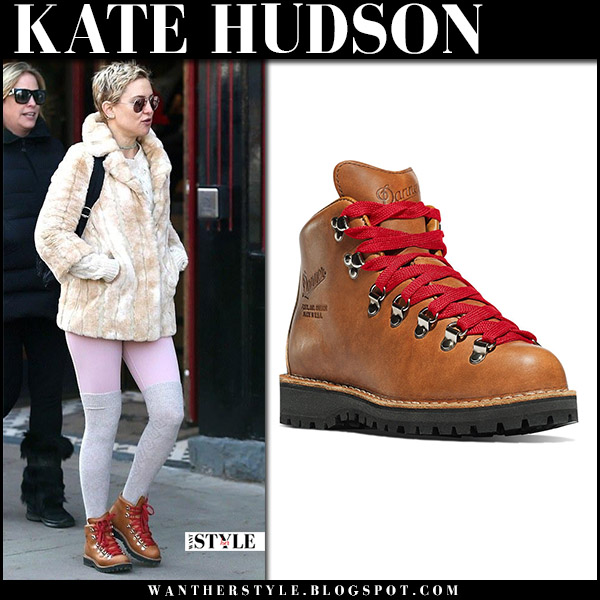 Kate Hudson in brown leather hiking boots danner winter style january 1