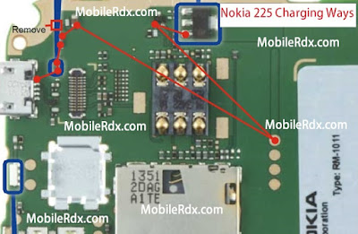 Download This Image  Follow this image. you can solve your nokia 225 Not Charging Problem. First Clean The motherboard use nc thinner. than check this red color line use your avo miter   if you get any short on this line. re shoulder this line use copper coil.