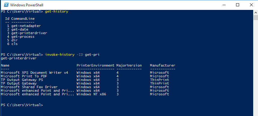 PowerShell, Invoke-History