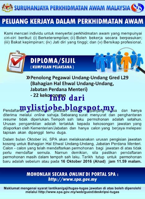 Jawatan Kosong Penolong Pegawai Undang Undang Gred L29 16 Oktober 2016 Appjawatan Malaysia