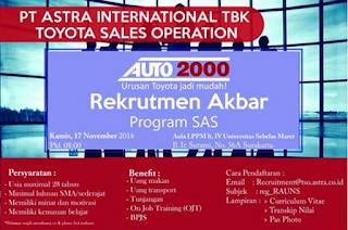 Lowongan Kerja PT Toyota Auto 2000 November 2016