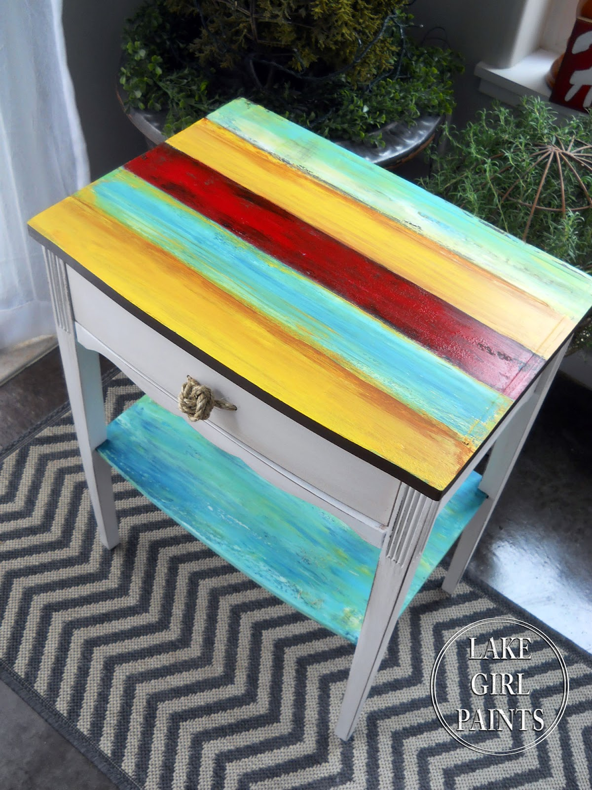 Lake Girl Paints Bright Striped Side Table