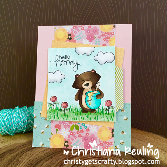 Bear and Honeybee card by Christiana Reuling | Winston's Honeybees stamp set by Newton's Nook Designs #newtonsnook