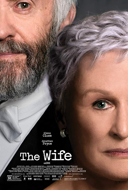 Movie Poster for The Wife starring Glenn Close & Jonathan Pryce based on the book by Meg Wolitzer