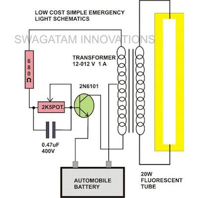 20 watt fluorescent tube, emergency light circuit.