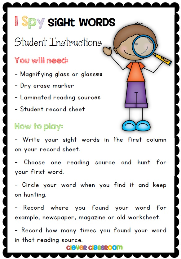 I Spy Sight Words Reading Activity with a FREEBIE - Clever ...