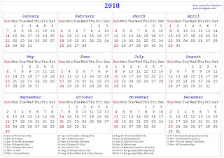 download 2018 calendar india with holidays list