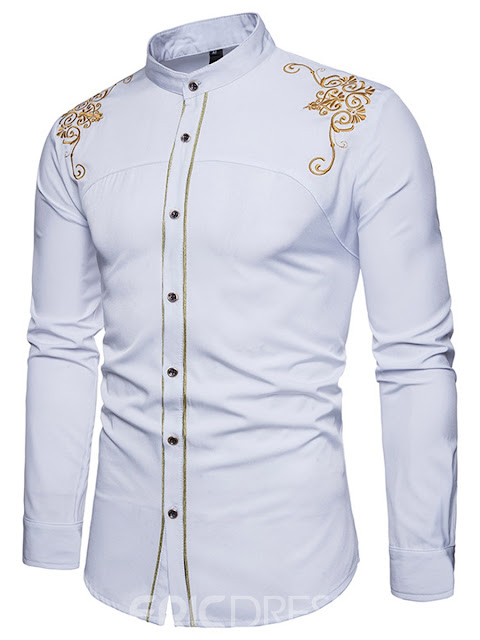 Golden Embroidery Plain Men's Single Breasted Dashiki Shirt
