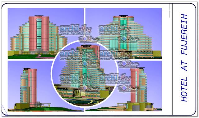 المساقط الأفقية للمشروع فندق 3D أت فوجيرا dwg