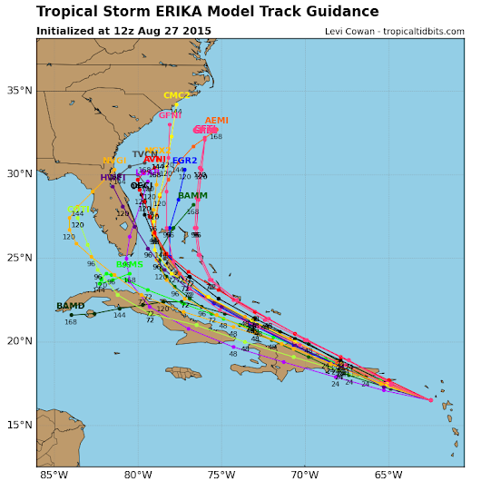 Quiet next several days; watching tropical storm Erika