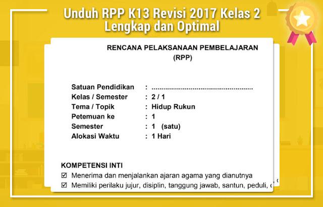 Unduh RPP K13 Revisi 2017 Kelas 2 Lengkap dan Optimal