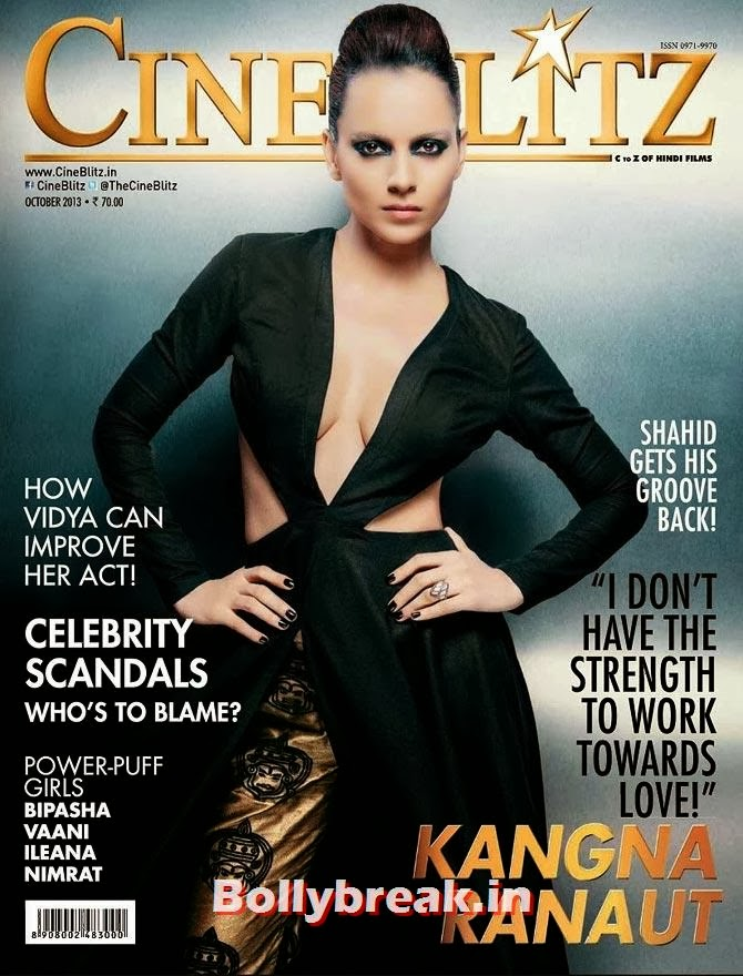 Kangna Ranaut on Cine Blitz cover, The Hottest cover girls of 2013