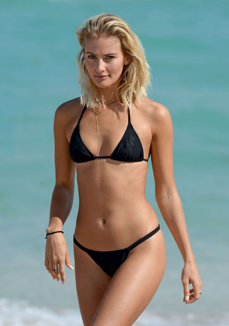 Selena Weber in Black Bikini on the beach in Miami