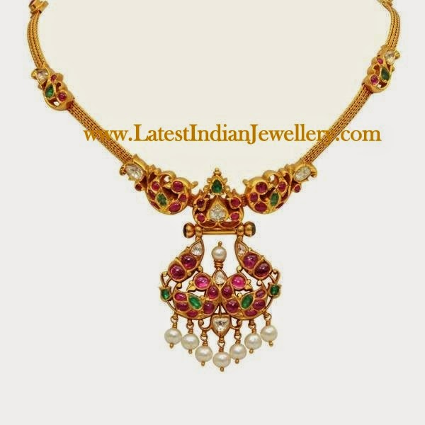 Traditional Designer Gold Ruby Necklace Latest Indian