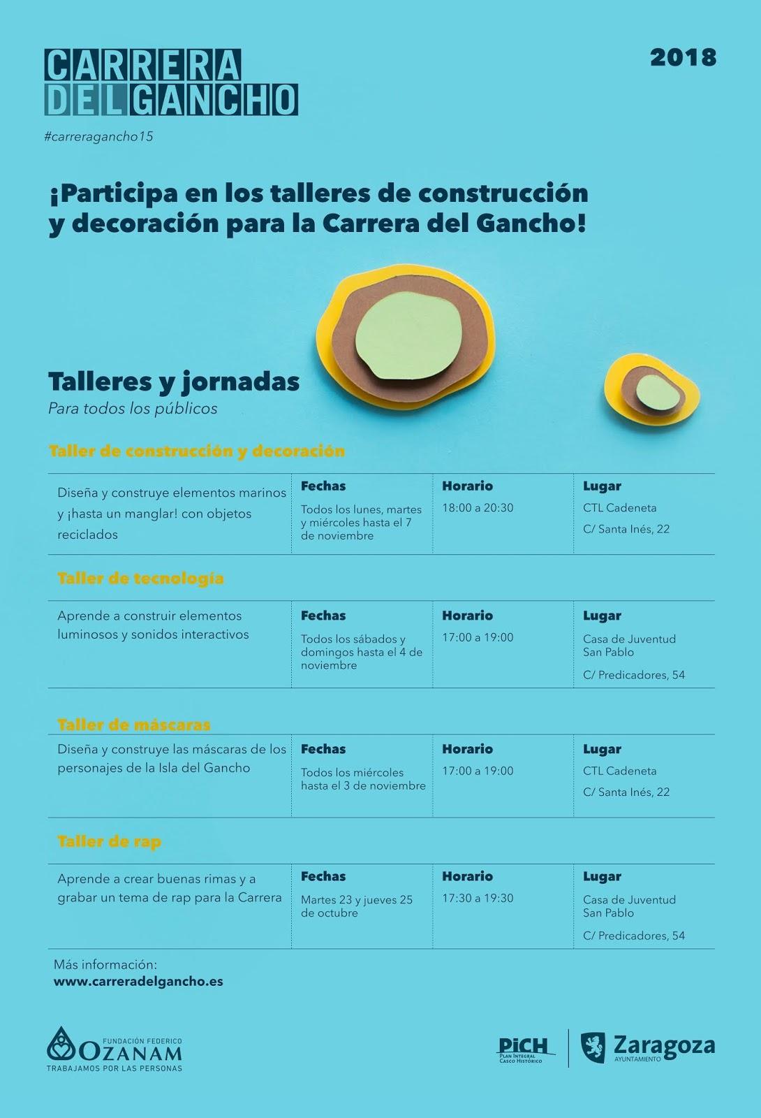 Horarios talleres Carrera del Gancho 2018