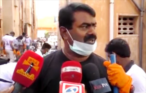 Seeman cleans up flood affected areas in Chennai