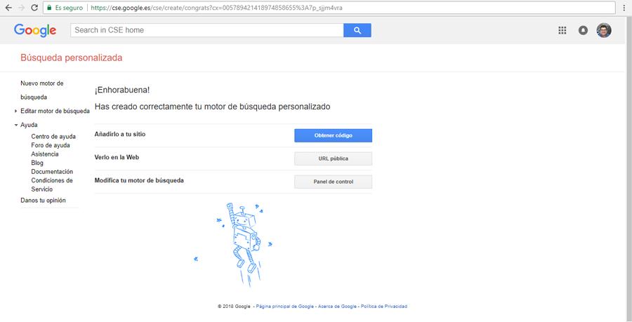 Modificar motor de búsqueda personalizado