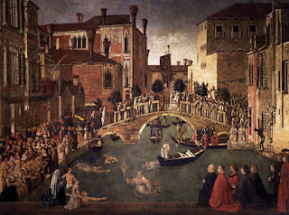 Gentile Bellini's Miracle of the True Cross at the Bridge of San Lorenzo can be found at the Galleria dell'Accademia