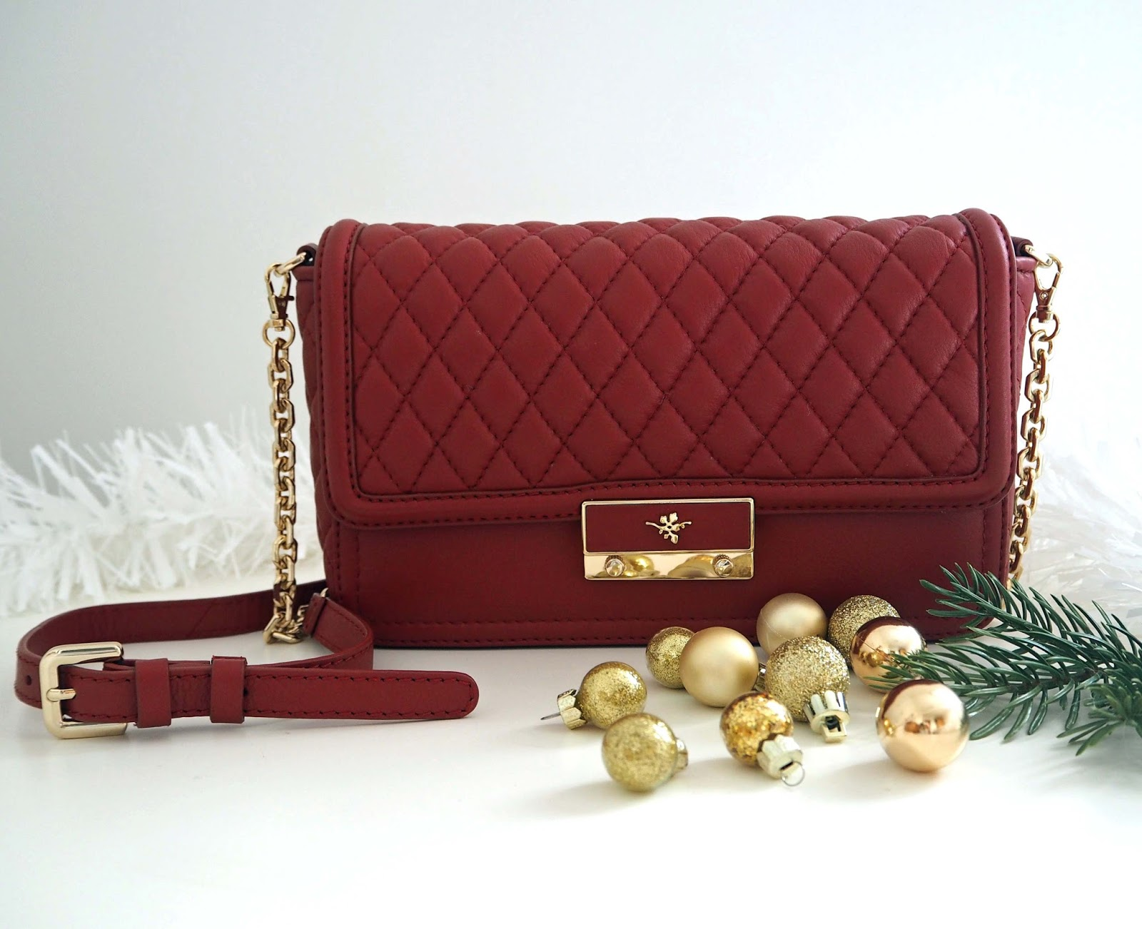 Christmas Gift Guide, IleX London Fiona red cross-body quilted evening bag with gold chain
