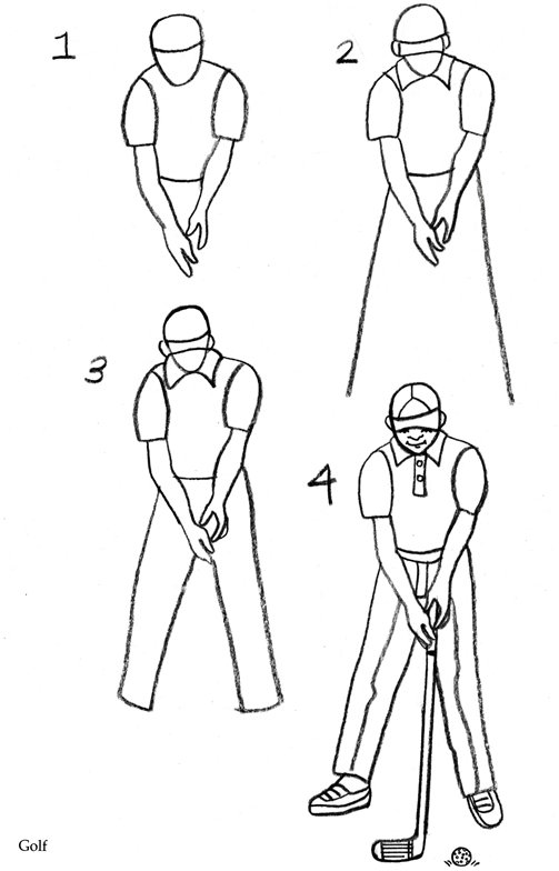 Coloring & Activity Pages: How to Draw a Golfer