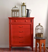 Poppyseed Creative Living Red Tallboy Dresser - Painted
