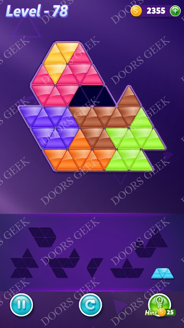 Block! Triangle Puzzle Advanced Level 78 Solution, Cheats, Walkthrough for Android, iPhone, iPad and iPod
