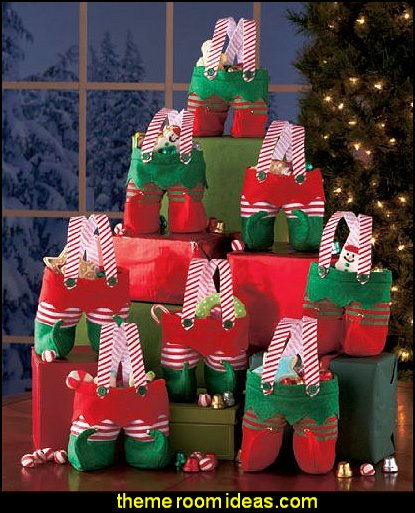 Elf Pants Treat Bags  Christmas decorating ideas - Christmas decor - Christmas decorations - Christmas kitchen decor - santa belly pillows - Santa Suit Duvet covers - Christmas bedding - Christmas pillows - Christmas  bedroom decor  - winter decorating ideas - winter wonderland decorating - Christmas Stockings Holiday decor Santa Claus - decorating for Christmas - 3d Christmas cards