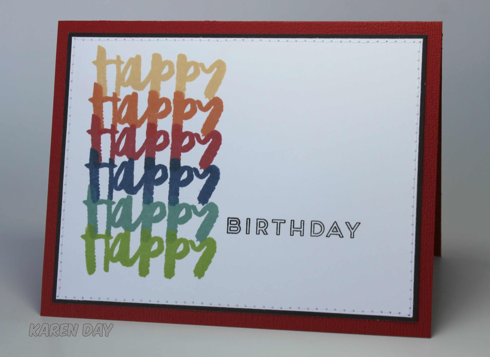 Karens creations a simple birthday card i used my misti and six different close to my heart inks and stamped four of these while i was at it i was trying to keep it gender neutral and a card bookmarktalkfo Choice Image