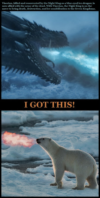 Viserion, killed and resurrected by the Night King as a blue-eyed ice-dragon; is now allied with the army of the dead. With Viserion, the Night King is on the move to bring death, destruction, and ice zombification to the Seven Kingdoms. #funny #dragon #polarbear #got #hope #attitude