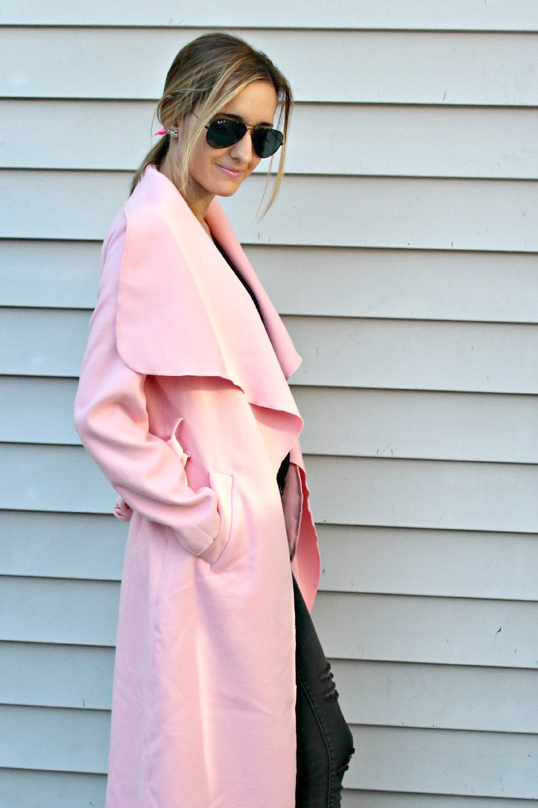 shein pink coat