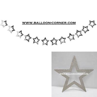 Glitter Star Garland Silver