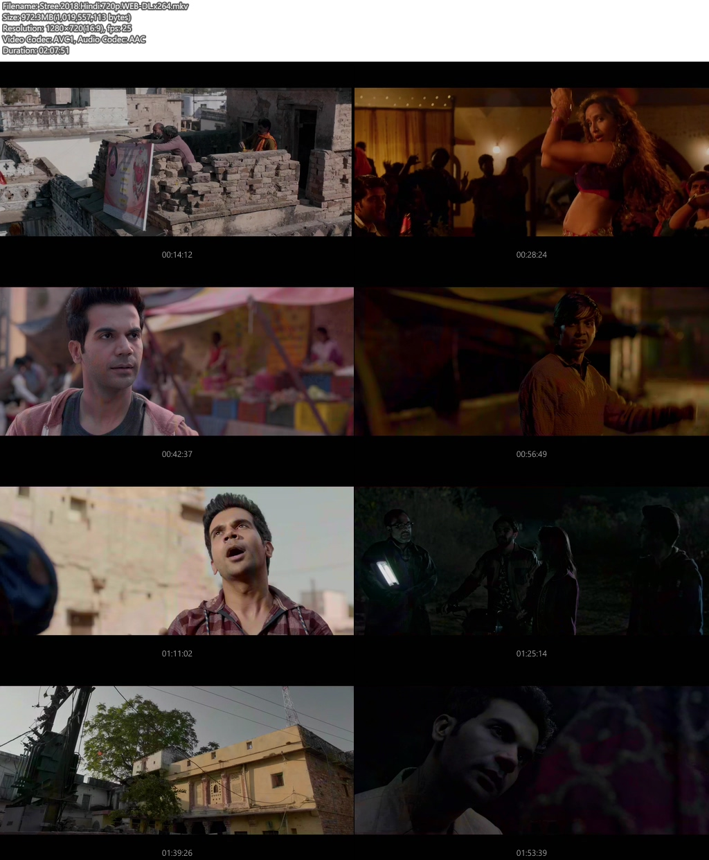 Stree 2018 Hindi 720p WEB-DL x264 | 480p 300MB | 100MB HEVC Screenshot