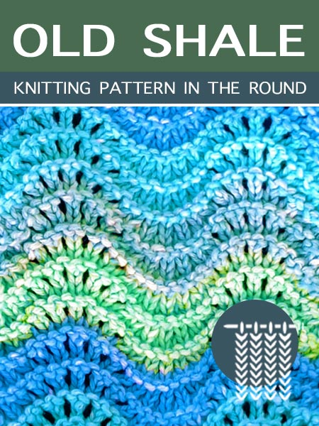 Hand Knitting Stitches - Old Shale in the round #knitlace #laceknitting