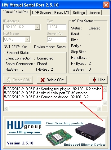 HW Virtual Serial Port 2.5.10, Checks, Creates, and Connects COM9 to the PC.